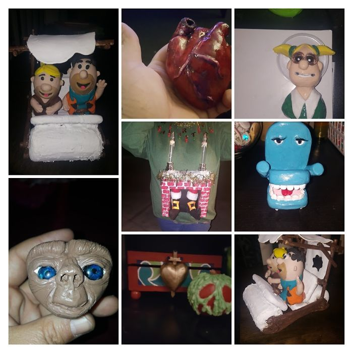 In October I Started Playing With Clay And These Are Some Of The Things I Have Made. Some For Contest At Work Like The Ugly Sweater And The Flinstones Easter Eggs. Still Learning But It Is Fun!