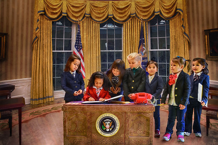 "Little Girls Model As An All Female Presidential Cabinet For Empowering Children's Book ""Rad Girl Revolution"""