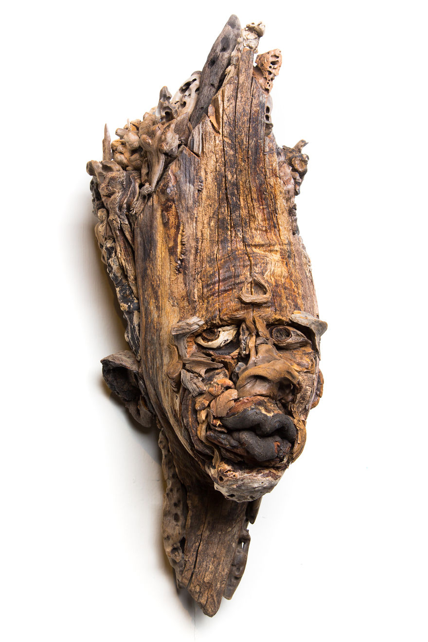 I have been sculpting faces and bodies from driftwood for