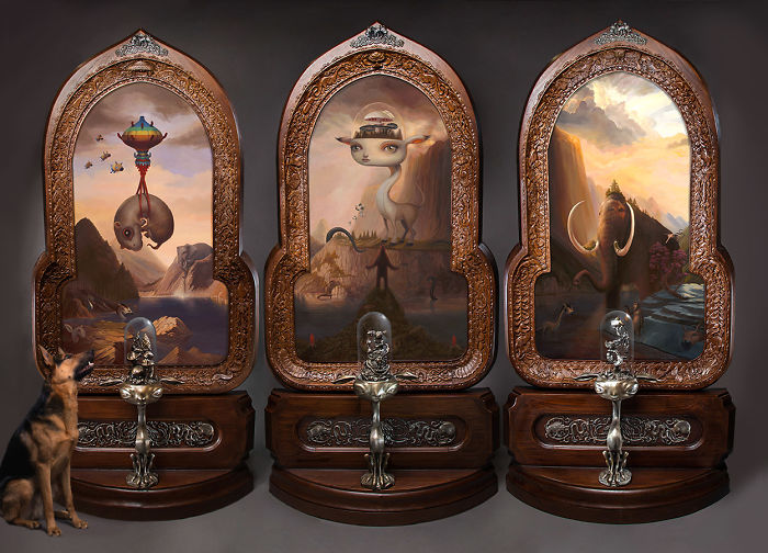 """Finally, After 3 Years, I've Finished My 7.5-Foot Tall Triptych """"The Sanctuary"""""""