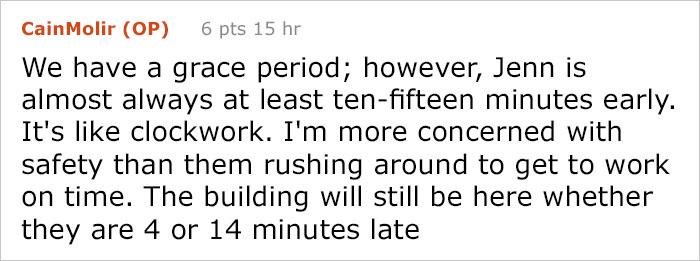 boss response woman late work 24