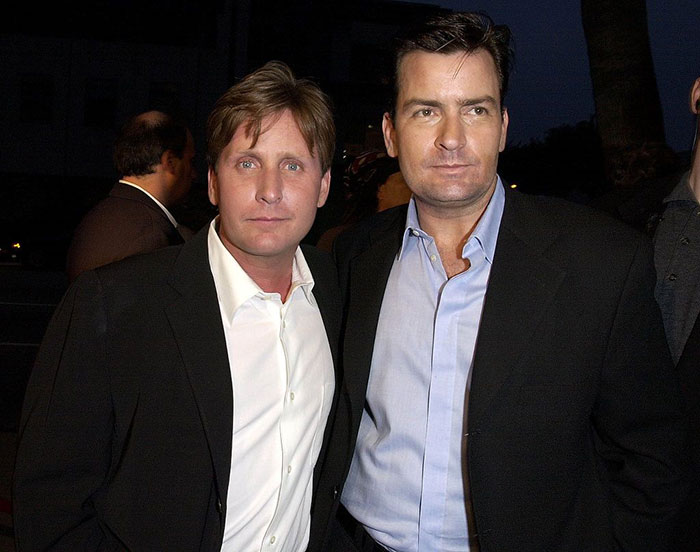 Charlie Sheen With His Brother Emilio Estevez