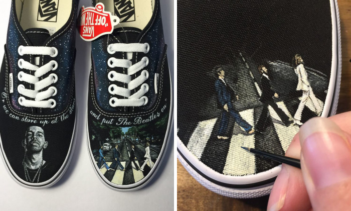 I Created A Visual Collaboration Of Musical Artists Drake & The Beatles On Custom Handpainted Vans