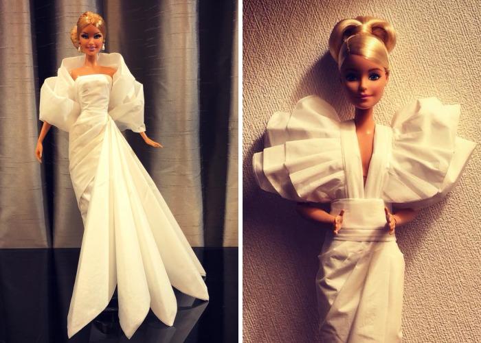 Este hombre usa papel higiénico y pañuelos para crear vestidos de boda a sus Barbies, y el resultado es increíble
