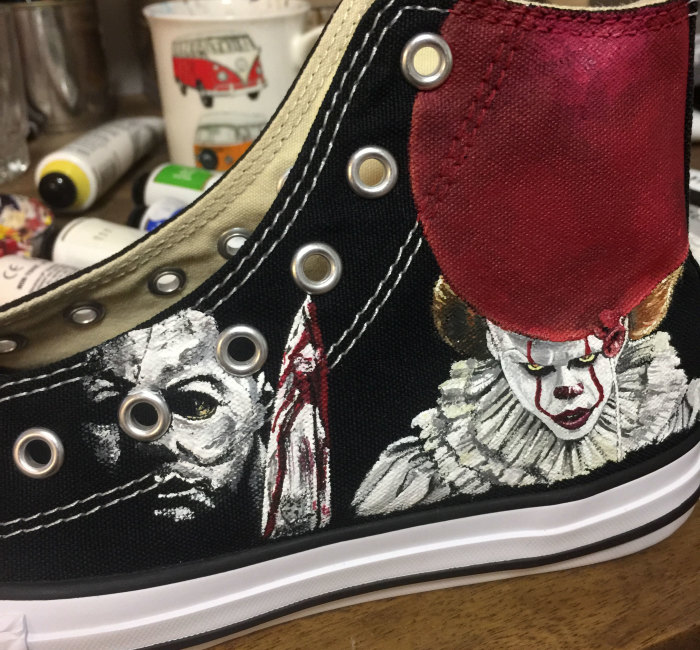 I Turned These Boring Shoes Into A Perfect Pair For A 9-Year-Old Horror Movie Fan