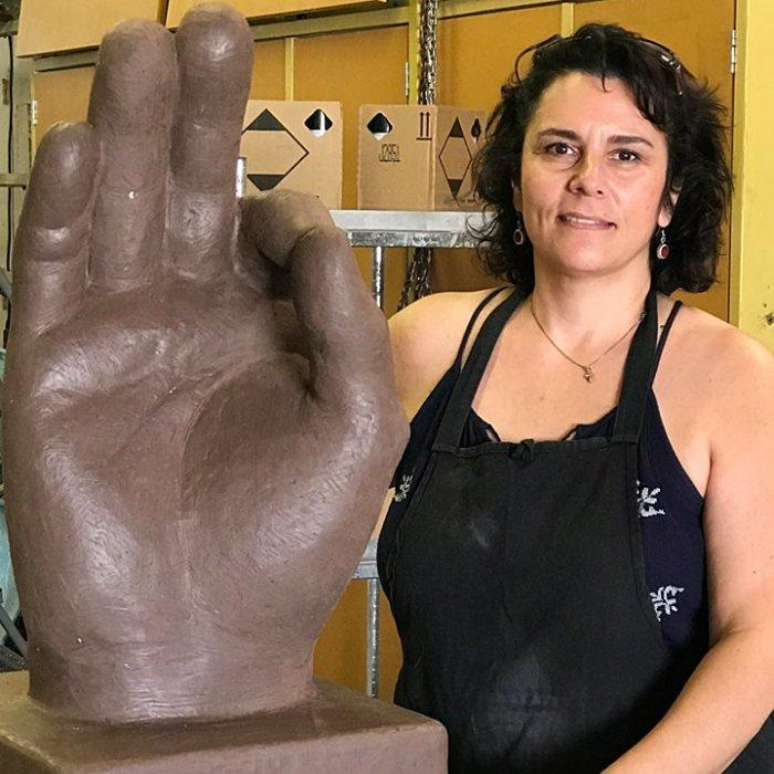 """Sculpted A 2 Ft. Tall """"Ok"""" Hand Statue"""