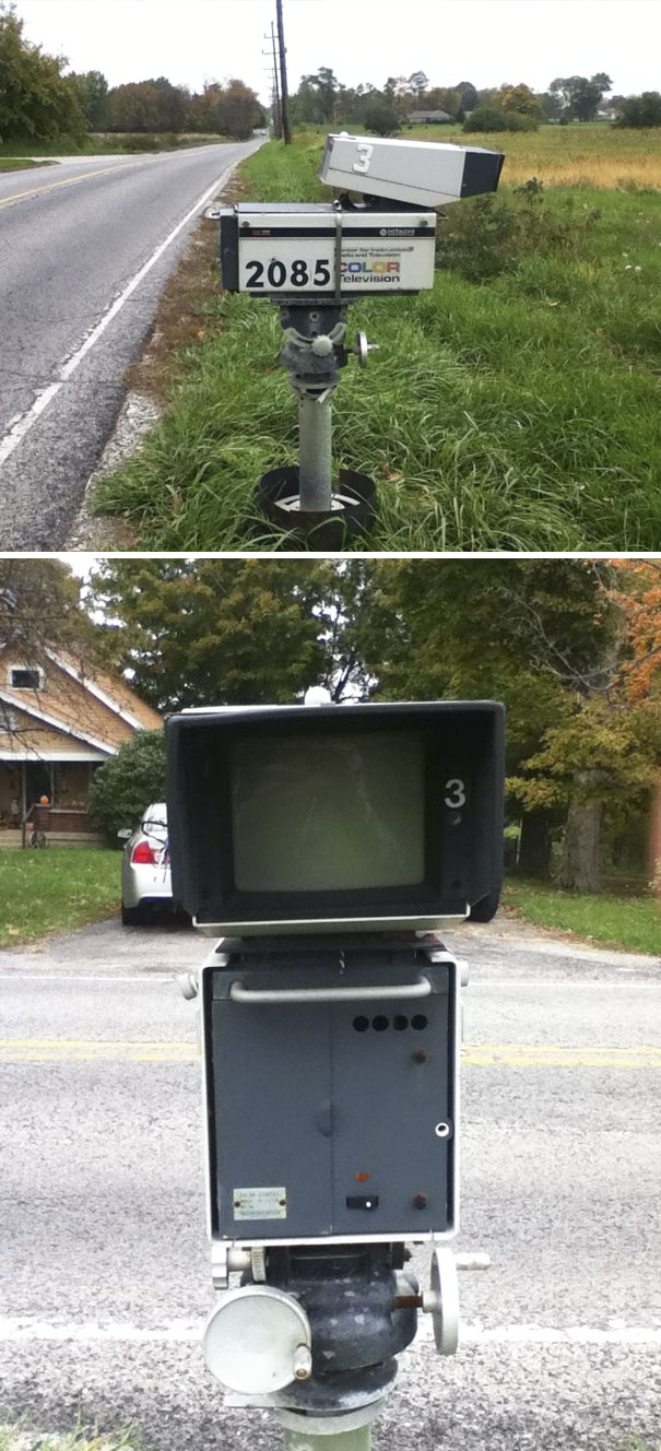 There's An Awesome Mailbox On My Drive Home From School That Used To Be A TV Camera