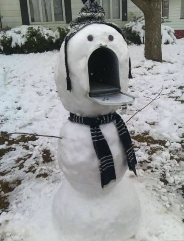 When Life Gives You Snow, Build A Snowman For Your Mailbox!