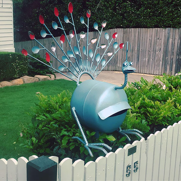 Peacock Mailbox With A Feathers Made Of Spoons