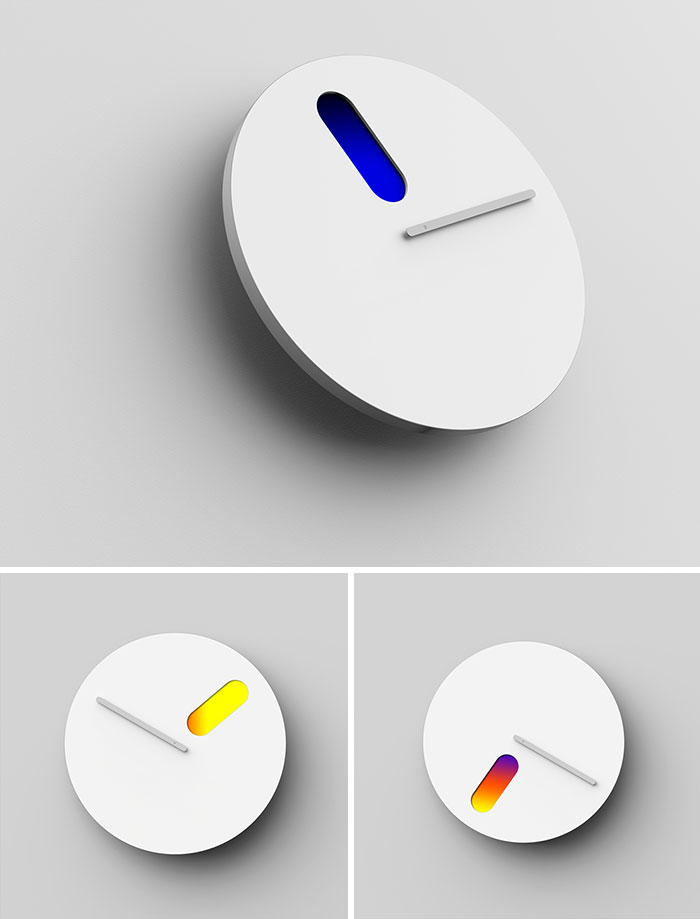 Color Of Time Minimalist Wall Clock Which Shows Emotions For The Time And Continuous Light Changes During A Day