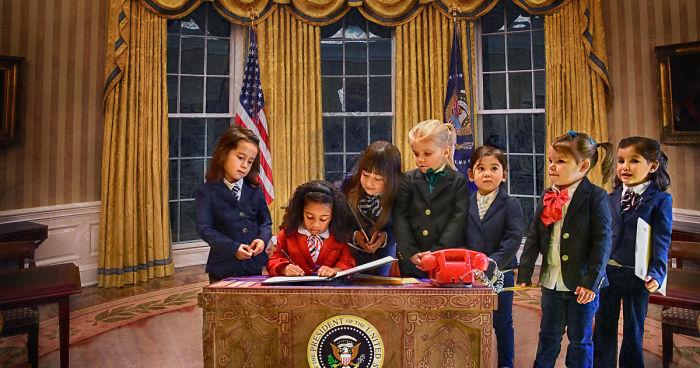 Little Girls Model As An All Female Presidential Cabinet For