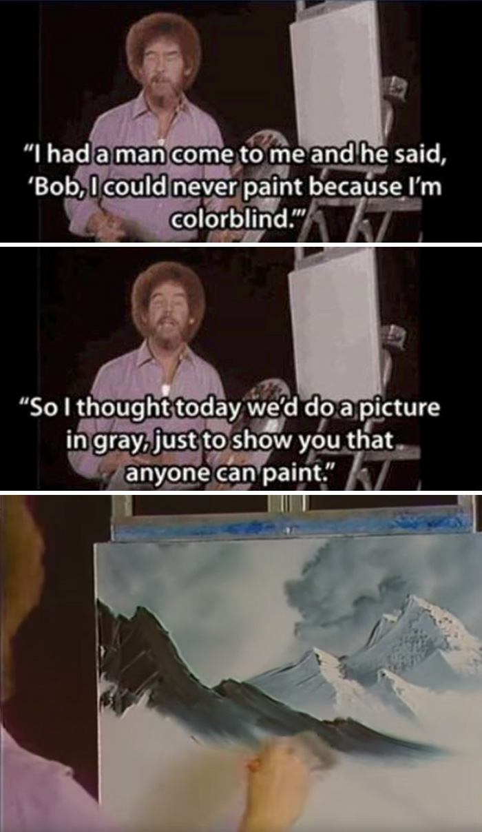 Bob Ross Once Painted Only In Gray For A Colorblind Fan. It Was Incredible