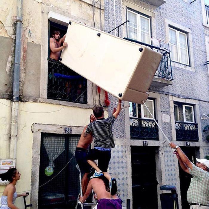 Día de mudanza en Portugal