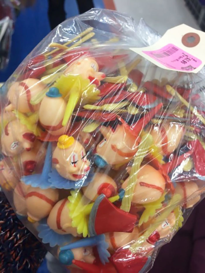 Did Anyone Need An Alarmingly Large Bag Of Plastic Clown Heads And Tiny Axes?