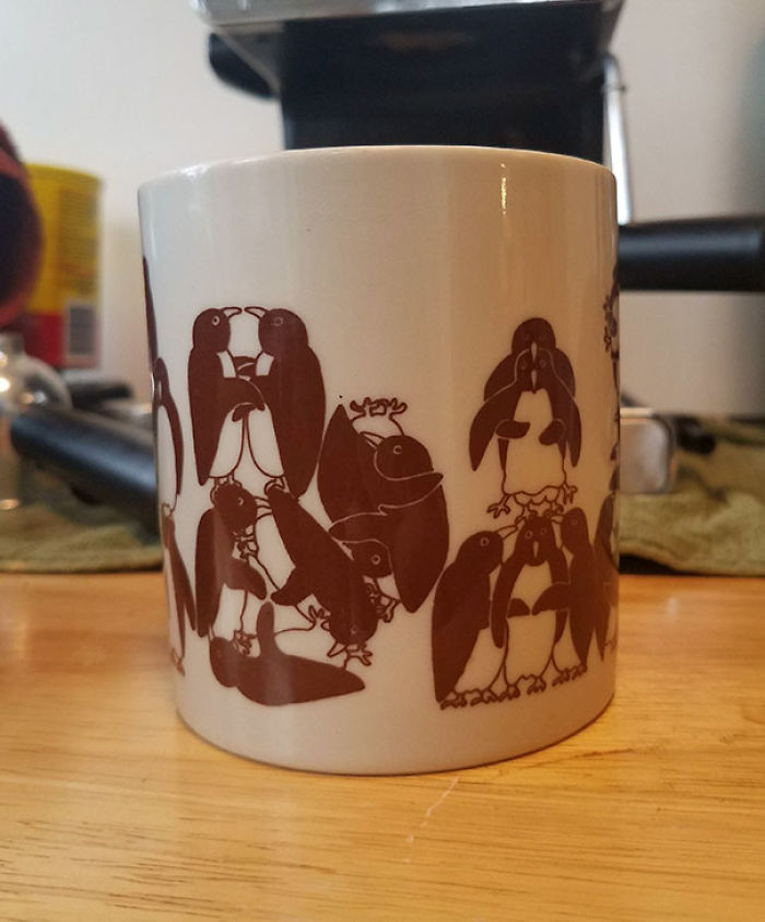 I Found A Coffee Mug Decorated With A Penguin Orgy. I Didn't Notice It Was A Penguin Orgy Until I Got Home, I Just Saw Penguins And Grabbed It