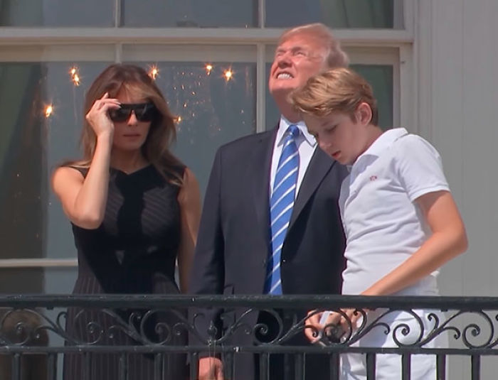 Trump Watching The Solar Eclipse