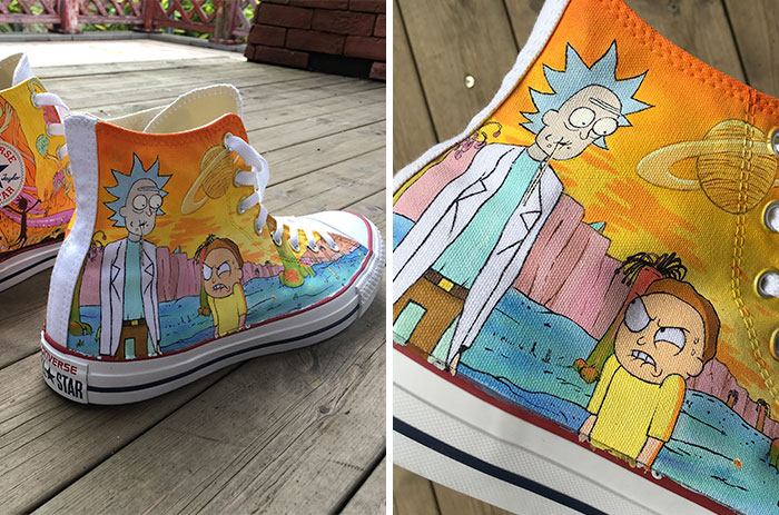 I Hand-Painted These Shoes With Rick And Morty Characters