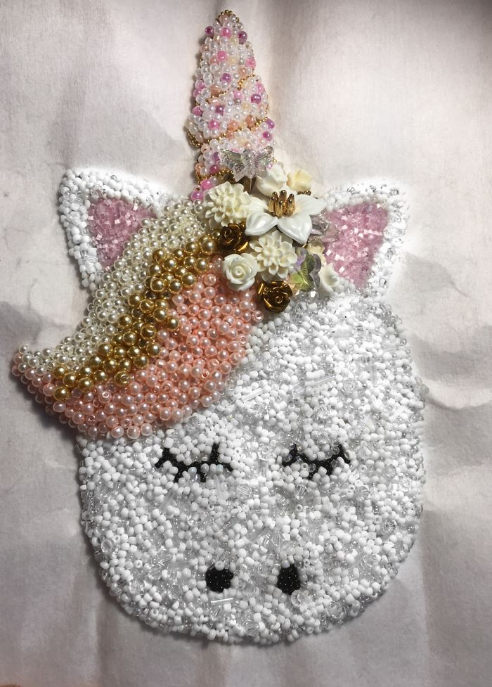 A Unicorn That I Made Out Of Thousands Of Beads