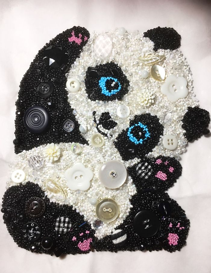 A Panda I Made Fro. Beads And Buttons