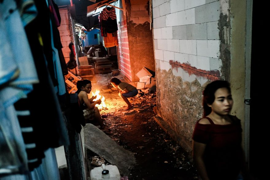 Small Alleys Of The Slum Area After Sunset