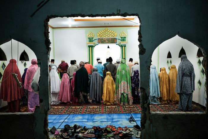 Muslims Are Praying In The Mosque Besides The Railway Tracks