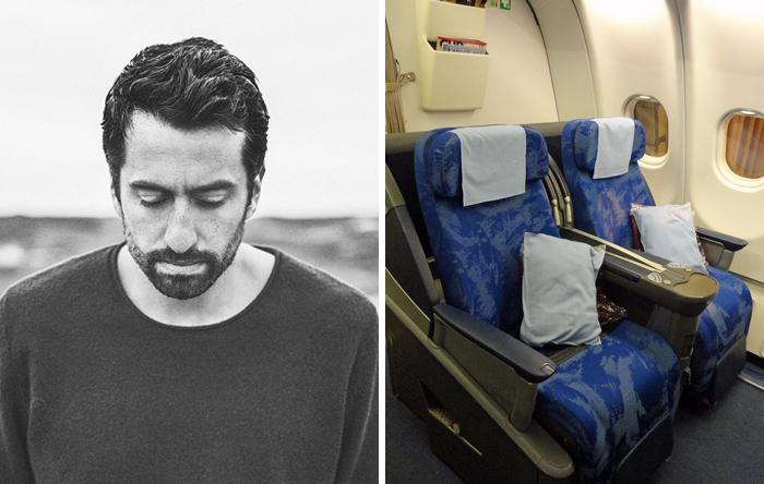 Frau merkt nicht, dass Sie im Flugzeug neben dem Musiker sitzt, dessen Musik Sie grade hört und er twittert es live