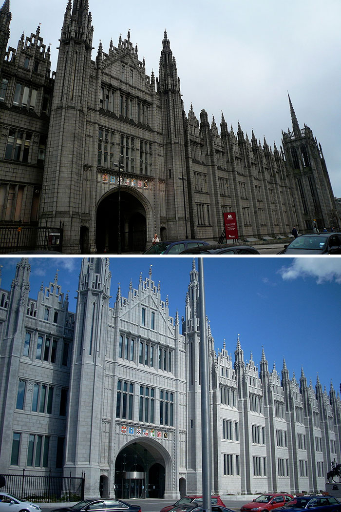 Marischal College In Aberdeen, The 2nd Largest Granite Building In The World, Has Been Cleaned. Before And After