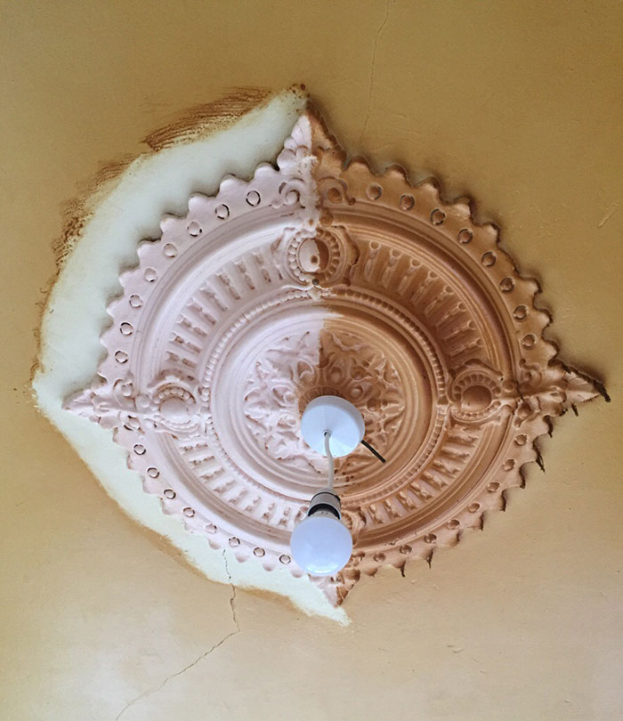 Scrubbed A Ceiling Rose Clean With A Toothbrush Whilst Renovating A House