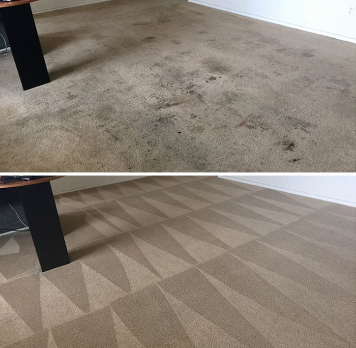 Triangles From Carpet Cleaning. Hypnotic Before/After Picture