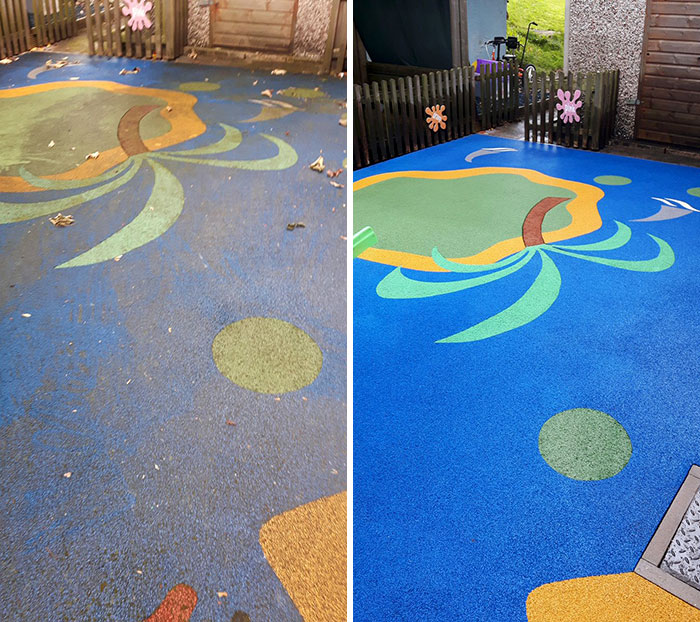 Before And After Of A Playground Cleaned At Wirral School. The Difference Is Amazing
