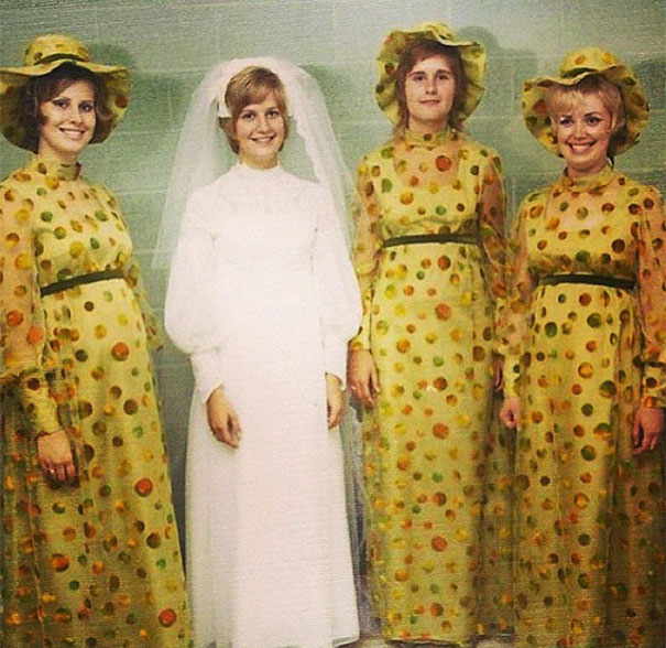 c374fe2e29b 46 Ridiculous Vintage Bridesmaids Dresses That Show Just How Much Time Has  Changed