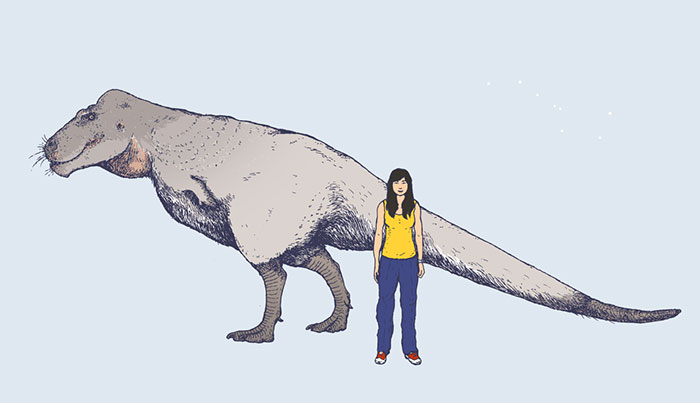 The Newly-Discovered Polar Dinosaur Nanuqsaurus, From Fossil Deposits In Alaska, Seen Here In Scale With A Modern-Day Inuit Girl. Nanuqsaurus Was A Small-Sized Relative Of The Famous Tyrannosaurus Rex