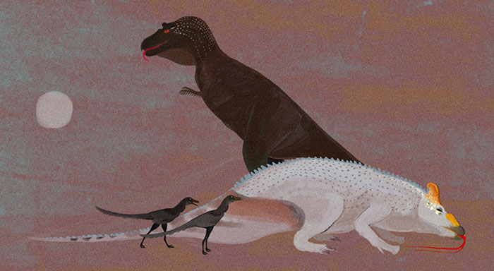 An Experimental, Cave-Art-Like Rendition Of Dinosaurs. The Mid-Size Tyrannosaur, Gorgosaurus, Has Just Killed An Edmontosaurus-Like Herbivore, Two Bird-Like Troodonts Are Closing In To Share The Kill