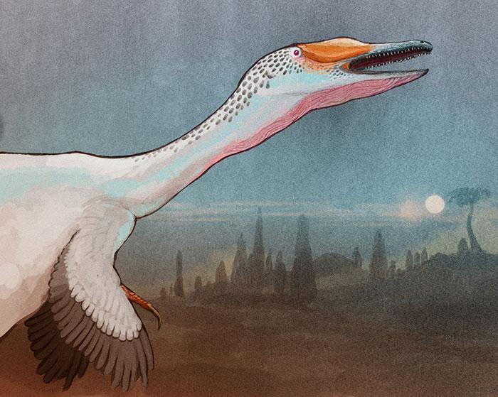 The Demon-Bird Austroraptor Howls Against The Full Moon