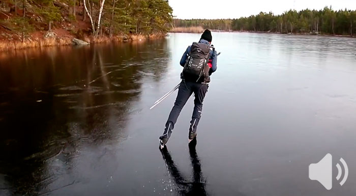 Guy Skates On Thin Black Ice And The Sound It Makes Is Out Of This World