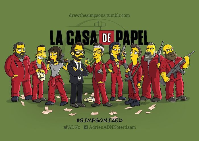 """Cartoonist Transforms The Characters From The Series """"La Casa De Papel"""" Into Simpson Version And The Result Is Lovely"""
