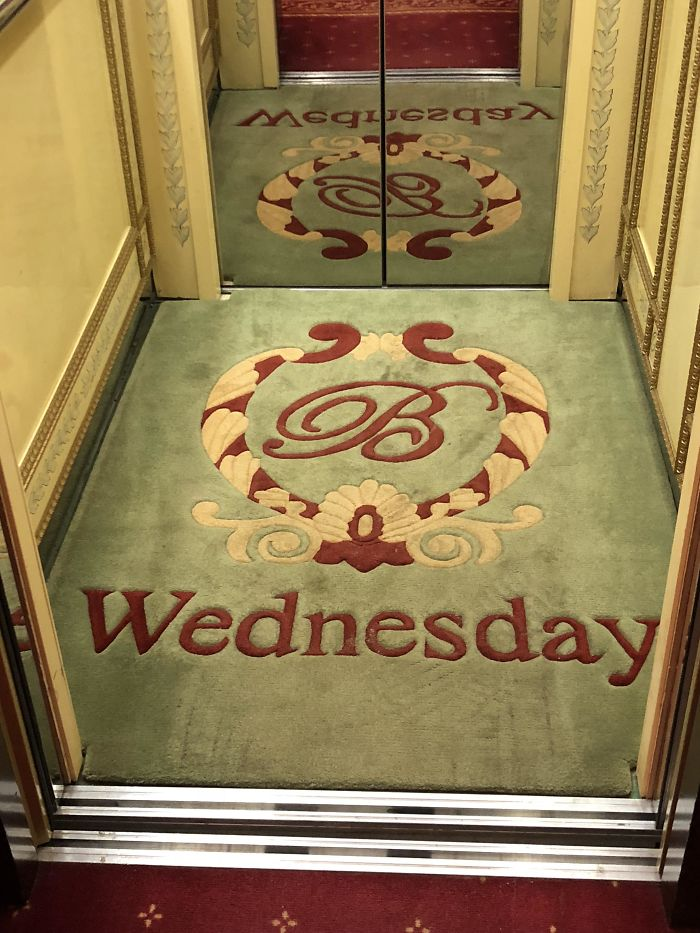 My Hotel In Odessa (Ukraine) Tells You Which Day It Is By Changing The Elevator Carpet Every Day