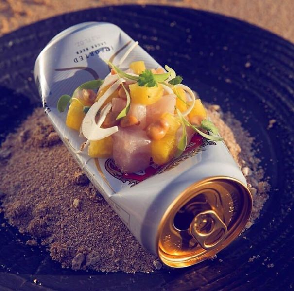 Fish Served On An Empty Beercan In A Dirty Ashtray
