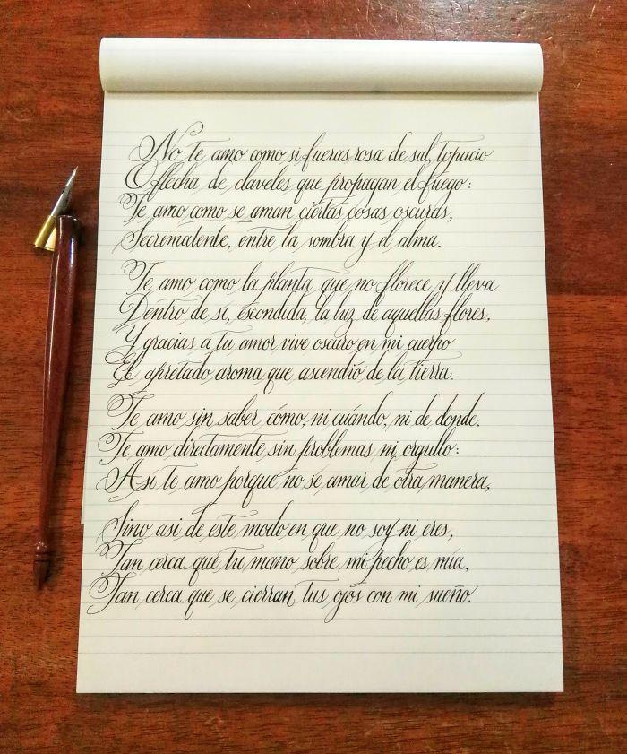 Practising Some Copperplate - Pablo Neruda's Soneto Vxii