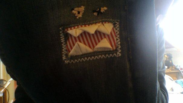 Mom Fixed Up A Knee Hole In My Pants. I'm 23, But I Love It