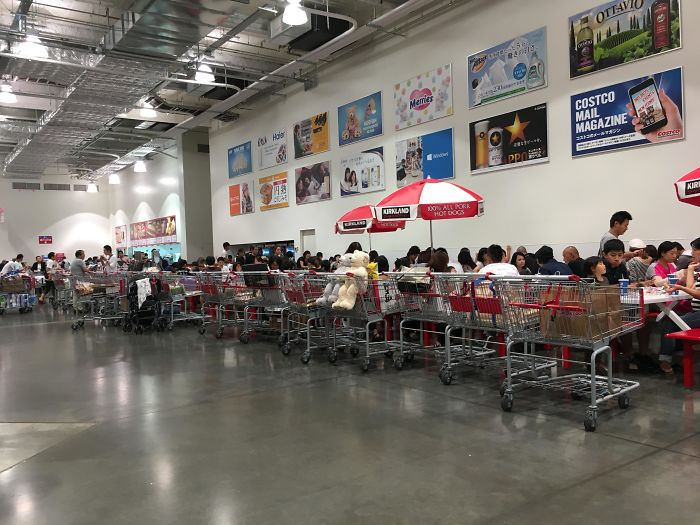 Everybody Lines Up Their Carts Nicely At The Food Court In Costco In Japan