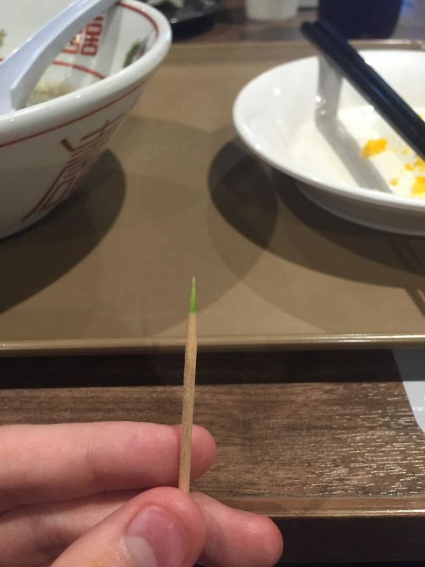 Toothpick                                                          At A Mall In                                                          Japan Had A                                                          Mint Coated                                                          Tip