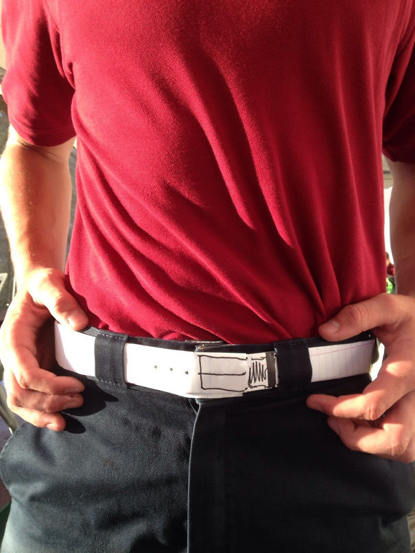 We Go To A School With A Uniform Policy That Requires A Belt. My Friend Forgot His Belt And Did This