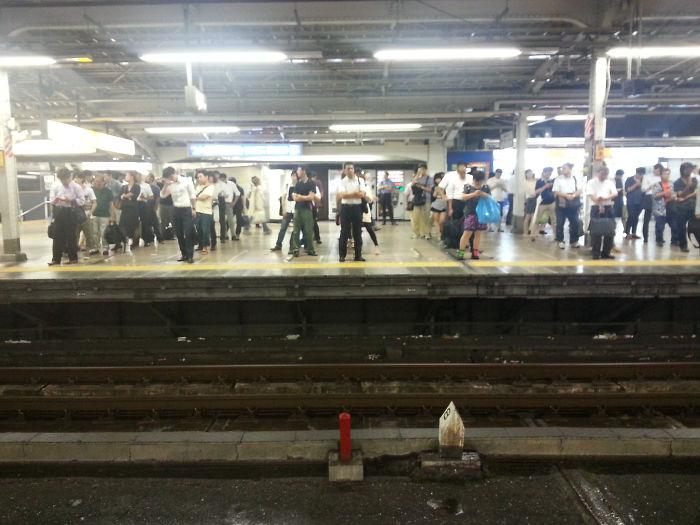 Viajeros colocados esperando el tren en Tokyo