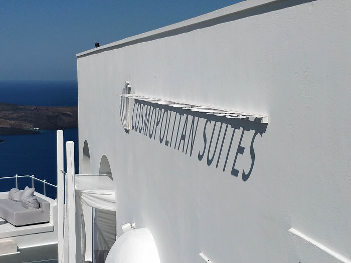 This Hotel In Santorini Has Its Name Spelled Out In Shadows