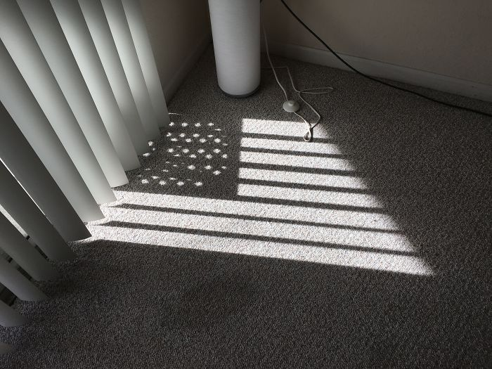 The Shadows Of My Blinds And My Outdoor Table Created The American Flag