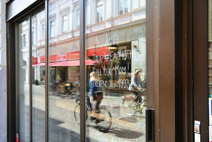 On A Café's Window In Sweden