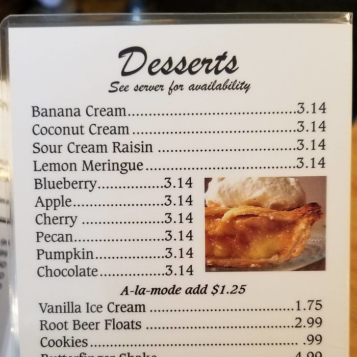 The Price For Pie, At The Café I Had Lunch At Today, Is $3.14