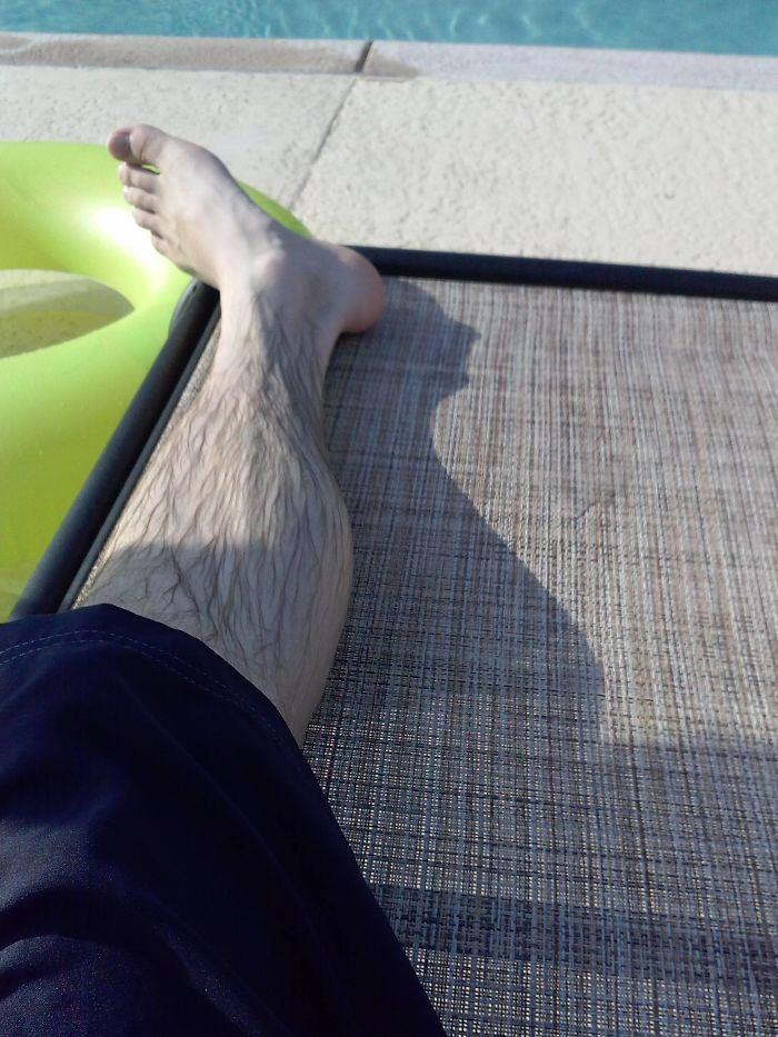My Leg Shadow Looks Like Alfred Hitchcock