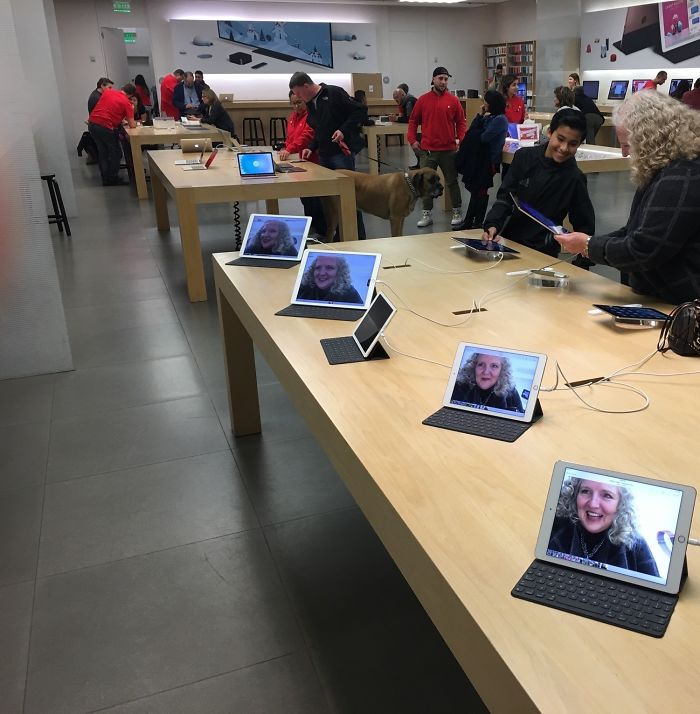 "My Dad And I (Jokingly) Told My Mom We Would Leave The Apple Store Only After She Had Taken A ""Selfie"" On Every Single Device. Next Thing I Know Her Face Is All Over The Store"